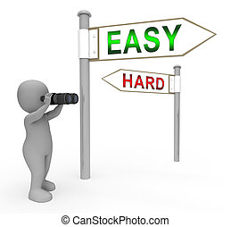 Easy Vs Hard Signpost Portrays Choice Of Simple Or Difficult Way - 3d Illustration