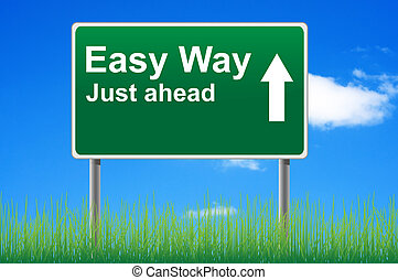 Easy way, concept road sign on sky background.