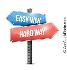 easy way, hard way sign illustration design