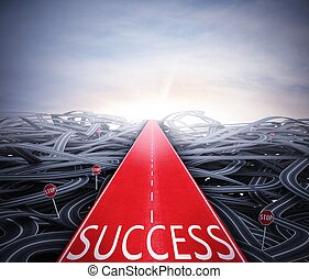 Easy way to success - Red easy way to success over street ...