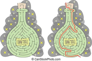 Easy witch poison maze for younger kids with a solution