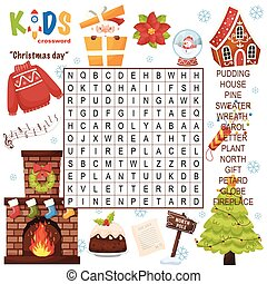 """Easy word search crossword puzzle """"Christmas day"""""""