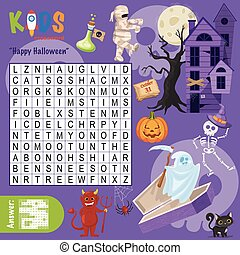 """Easy word search crossword puzzle """"Happy Halloween"""", for ..."""