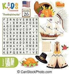 """Easy word search crossword puzzle """"Thanksgiving day"""", for ..."""