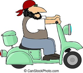 Easyrider - This illustration depicts a man riding a...