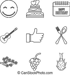 Eat away icons set. Outline set of 9 eat away vector icons for web isolated on white background
