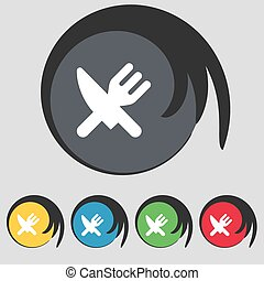 Eat, Cutlery icon sign. Symbol on five colored buttons. Vector