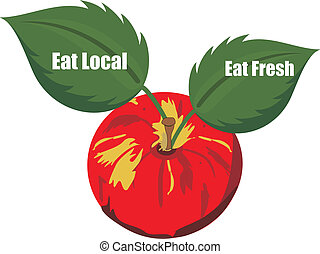 """Getting your fruits and veggies from local farmers, makes more """"cents"""" locally, in the long run. The apple, with the leaves, say's it all... Support your local, agricultural farmers.."""