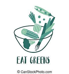 Eat greens. Vector hand drawn flat vegetables in bowl
