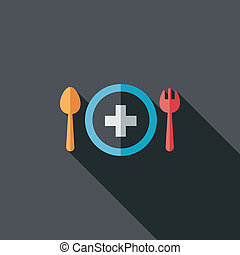 eat health flat icon with long shadow