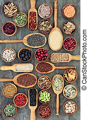 Eat Healthy Food - Healthy food concept with legumes, fruit,...