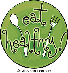 Eat Healthy - Icon Illustration Advocating a Healthy Diet