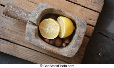 Eat healthy idea, food on a vintage table. - Eat healthy...