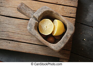 Eat healthy idea, food on a vintage table.