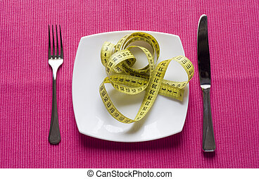 healthy eating concept in a pink background