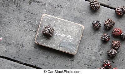 Eat heathy text. Fruit diet, dieting, nutrition, vegetarian...