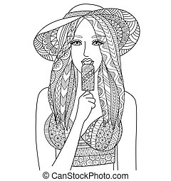 Eat Ice cream - Zendoodle design of Sexy girl wearing hat...