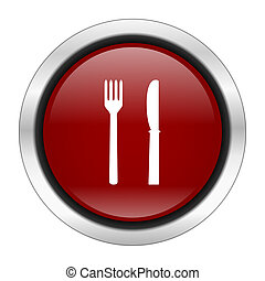 eat icon, red round button isolated on white background, web design illustration