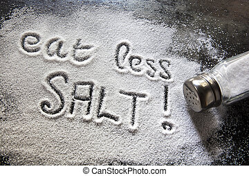 Eat Less Salt - Message about excessive salt consumption.