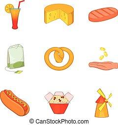 Eat on the street icons set, cartoon style