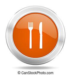 eat orange icon, metallic design internet button, web and mobile app illustration