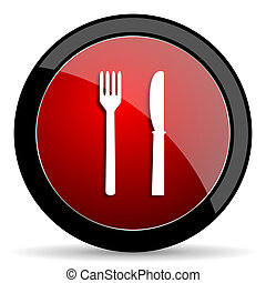 eat red circle glossy web icon on white background - set440