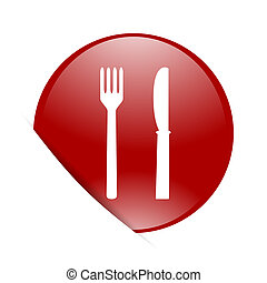 eat red circle glossy web icon
