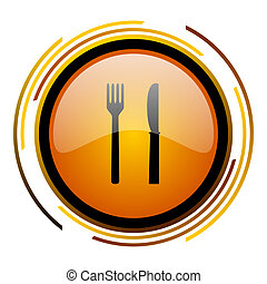 eat round design orange glossy web icon
