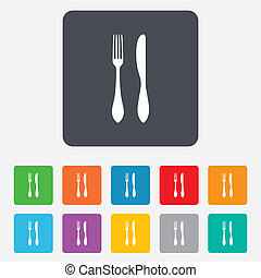 Eat sign icon. Cutlery symbol. Knife and fork. Rounded...