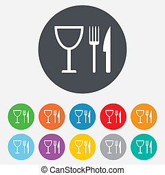 Eat sign icon. Cutlery symbol. Knife, fork and wineglass. Round colourful 11 buttons. Vector