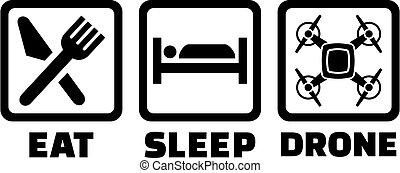 Eat Sleep Drone Icons Black
