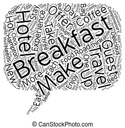 Eat Up Travelers Enjoy Breakfast On The Road text background wordcloud concept