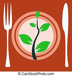 Eat vegan plate with fork and knife