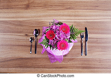 eat with love bouquet on table