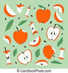 Eaten, bitten and sliced apples, vector cartoon set