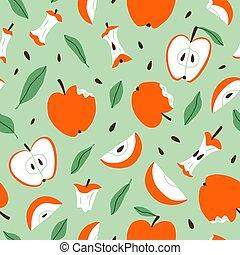 Eaten, bitten and sliced apples, vector seamless pattern