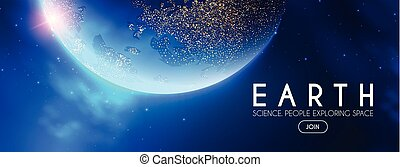 Eath Planet in Space with Lights. Realistic Universe. Cosmos...