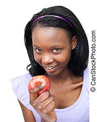 eatin, γυναίκα , αφρο-αμερικανός , ευχαριστημένος