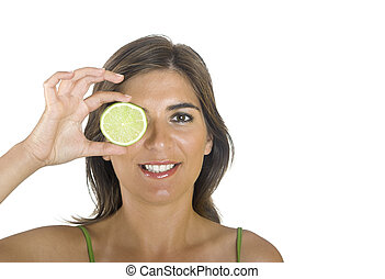 Eating a lime