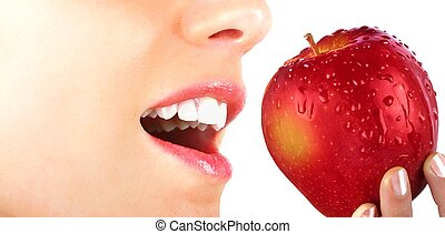 Eating an apple - Beauty and healt concept with young girl ...