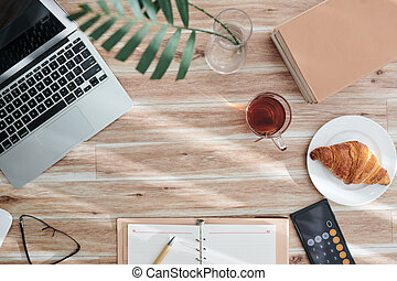 Eating and Working at Office Desk