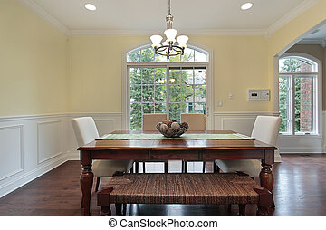 Eating area with dining room view