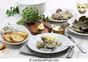 eating boiled artichoke