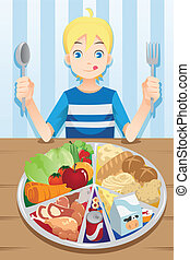 Eating boy - A vector illustration of a boy ready to eat a ...