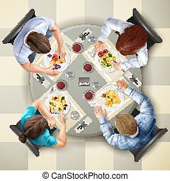 Four characters eating italian dishes at table top view realistic vector illustration