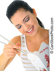 young attractive woman eating chinese food with chopstick