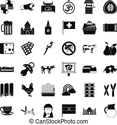 Eating cow icons set, simple style