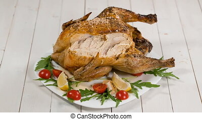 Eating Delicious Roast Chicken On Thanksgiving, stop motion...
