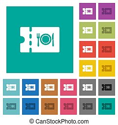 Eating discount coupon square flat multi colored icons -...