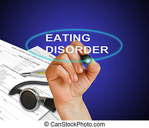 eating disorder - writing word Eating disorder with marker...
